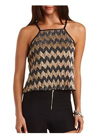 Metallic Chevron Tank Top