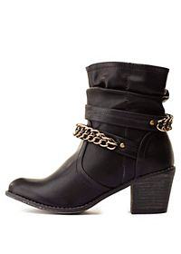 Chain Embellished Slouchy Ankle Boots