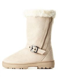 Side-Zipper Mid-Calf Shearling Boots