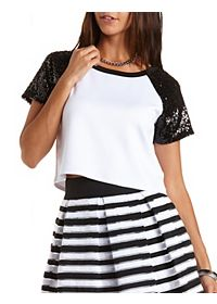 Sequin Raglan Crop Top