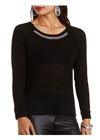 Bead & Rhinestone Embellished Sweater Knit Top
