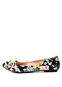 Ruched Floral Print Ballet Flats