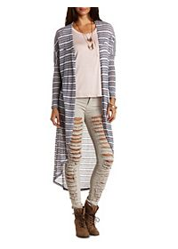 Striped Dolman Duster Cardigan