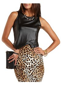 Asymmetrical Faux Leather Crop Top
