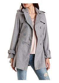 Pleated Wool Trench Coat