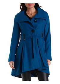 High-Low Belted Wool Coat
