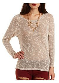 Crochet-Back Long Sleeve Top