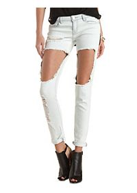 "Refuge ""Boyfriend"" Light Wash Destroyed Jeans"