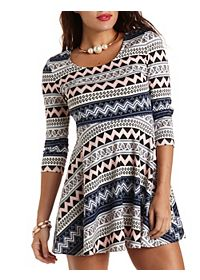 Paisley and Chevron Print Skater Dress