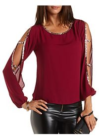Jeweled Cold Shoulder Cut-Out Top