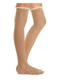 Lace-Trim Pointelle Over-the-Knee Socks