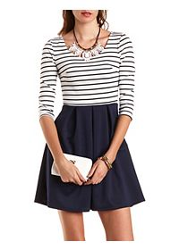Striped Skater Dress with Belt