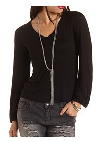 Cowl Back Long Sleeve Tee