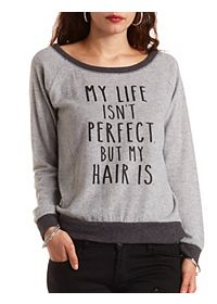 Fuzzy Fleece Perfect Hair Graphic Pullover