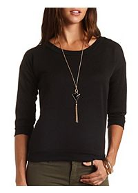 Geometric Embossed Crew Neck Top