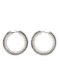 Beaded Rhinestone Hoop Earrings