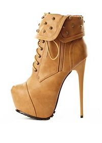 Studded Cuff Lace-Up Platform Booties
