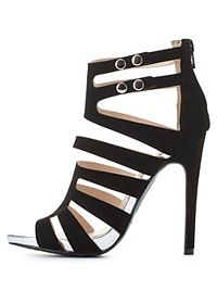 Qupid Strappy Caged Heels