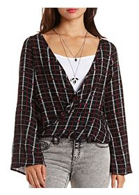 Long Sleeve Plaid Wrap Top