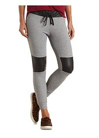 Faux Leather Knee Patch Sweatpants