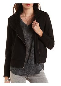 Asymmetrical Jacket with Fleece Hood