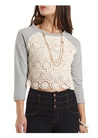 Crochet Trim Sweatshirt