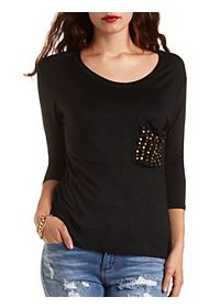 Three-Quarter Sleeve Tee with Metallic Accents
