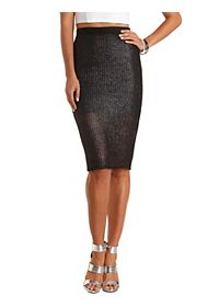 Metallic Open Weave Midi Skirt
