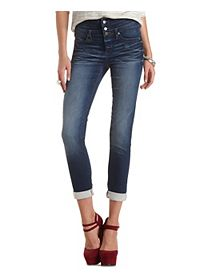 High-Waisted Dark Wash Skinny Jeans