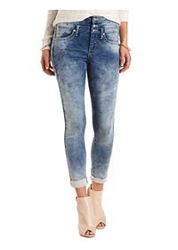 High-Waisted Acid Wash Skinny Knit Jeans