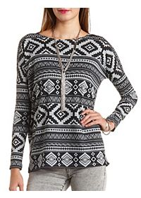 Long Sleeve Tribal Print Top