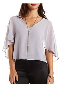 Caped Chiffon Swing Top