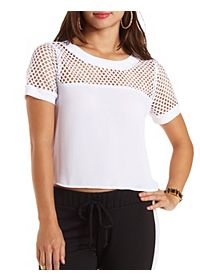 Fishnet & Chiffon Crop Top