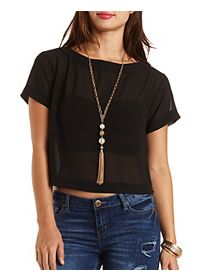 Boat Neck Sheer Chiffon Top