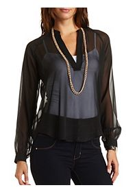 High-Low Mandarin V-Neck Tunic Top