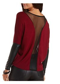 Mesh & Faux Leather Dolman Top
