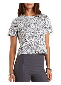 Floral Jacquard Boxy Tee