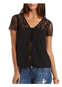 Sheer Lace & Chiffon Top