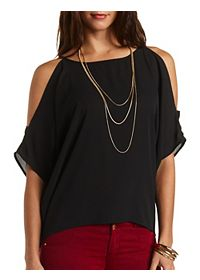 Tie Back Cold Shoulder Top