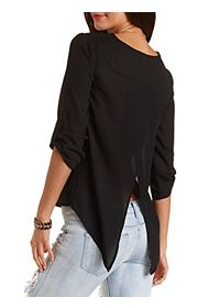 Slit-Back Chiffon Top