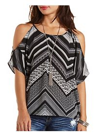 Tie-Back Printed Cold Shoulder Top