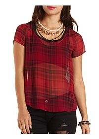 Plaid Chiffon High-Low Top