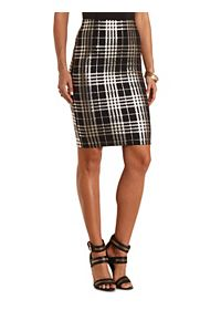 Metallic Plaid Midi Skirt