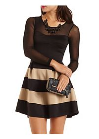 Long Sleeve Striped Skater Dress