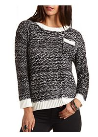 Marled High-Low Pullover Sweater