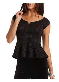 Velvet Damask Peplum Top