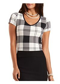 Textured Plaid Crop Top