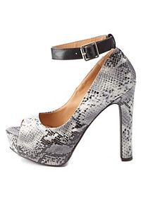Qupid Python Peep Toe Ankle Strap Pumps