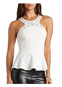 Jeweled Racer Front Peplum Top