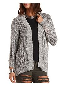 Marled Pointelle Cardigan Sweater